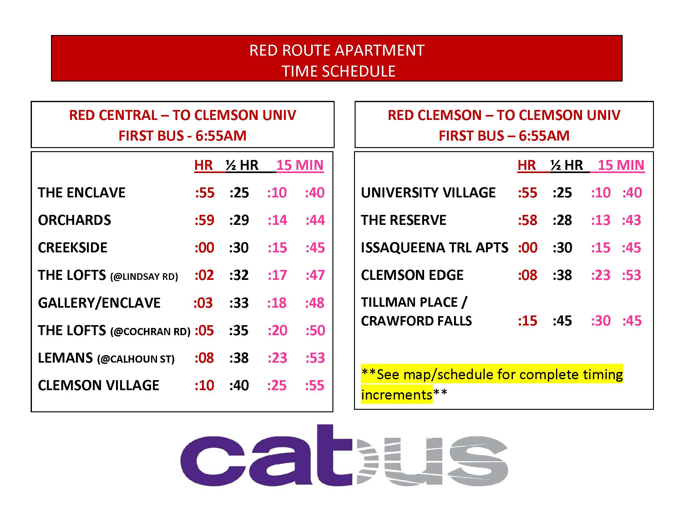 Click to Enlarge Red Route Apartment Time Schedules