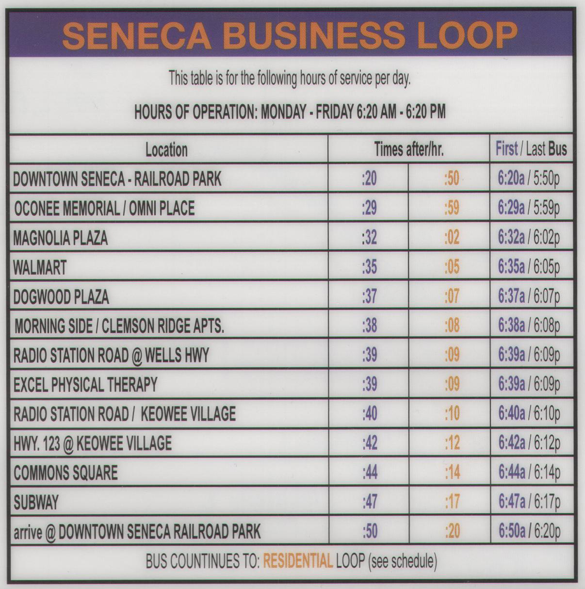 Click to Enlarge Seneca Business Loop