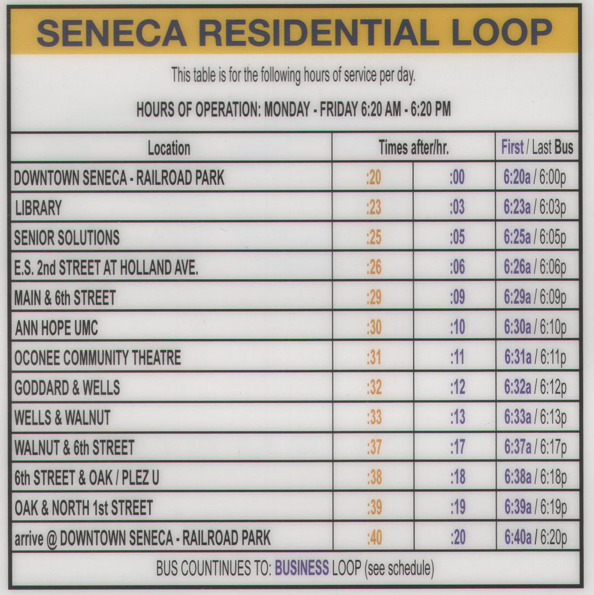 Click to Enlarge Seneca Residential Loop